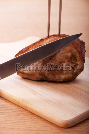roast pork ready to be sliced