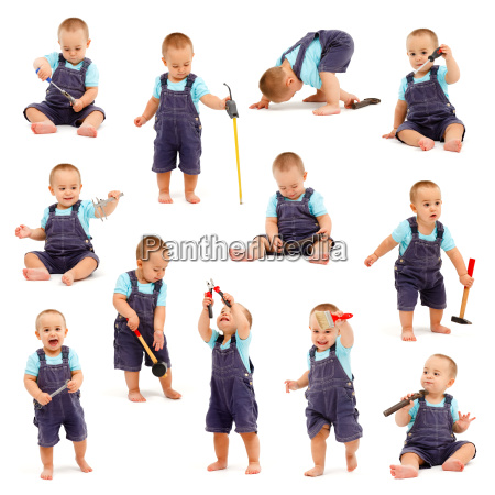 collage of little boy playing with