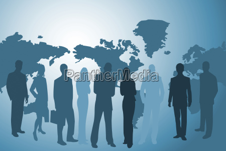 businesspeople and worldmap