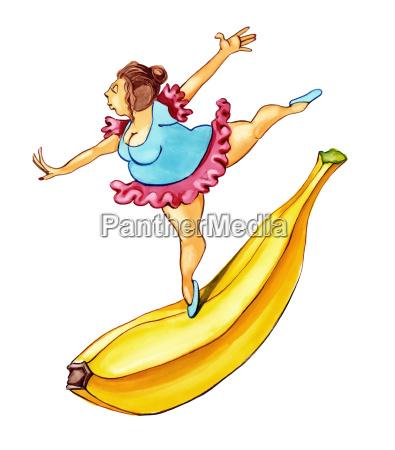 overweight woman dancing on banana