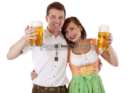 bavarian woman and man in dirndl