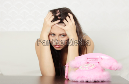 woman waiting for call