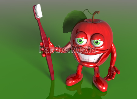 apple with a big grin