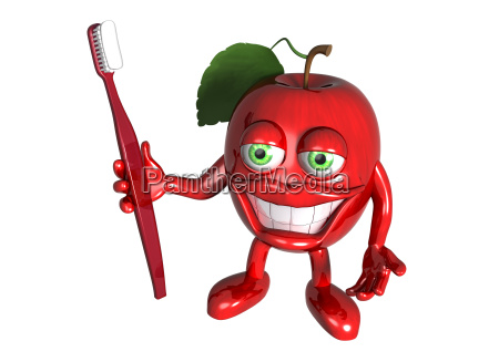 healthy apple with clean teeth