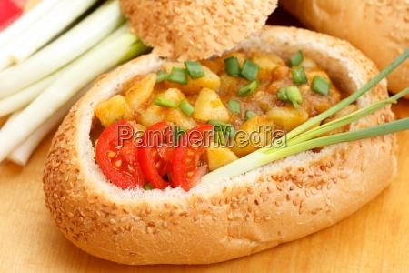 goulash in bread bowl