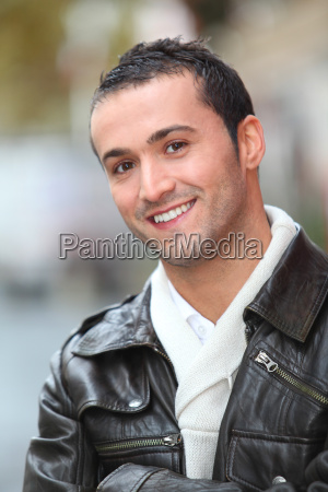 closeup of man with leather jacket