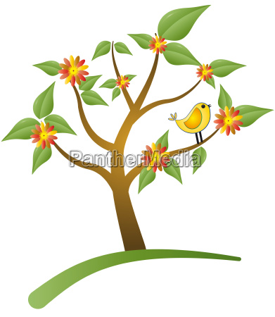 tree with bird and flower