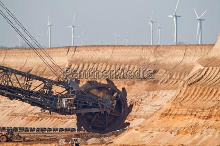 schaufelradbagger in garzweiler from wind turbines