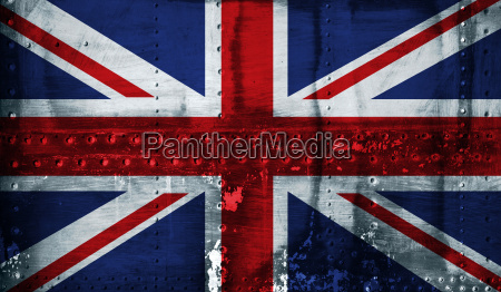 union jack flag on steel background