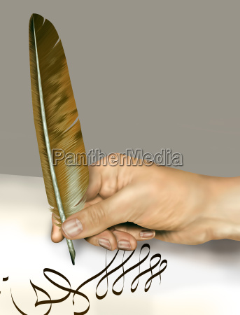 handwriting with a feather quill
