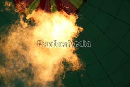 flames in hot air balloon