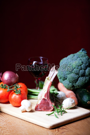 raw lamb and mixed vegetables