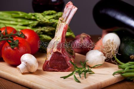 raw lamb and mixed vegetables