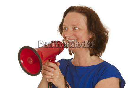 mature woman with megaphone