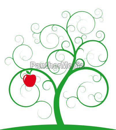red apple and spiral tree