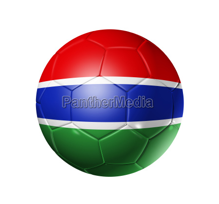 soccer football ball with gambia flag