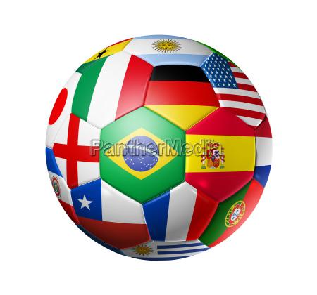 football soccer ball with world teams
