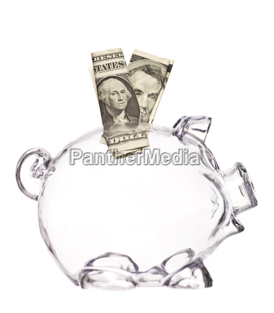 transparent pig bank with two dollar