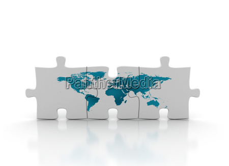 world map on puzzle piece