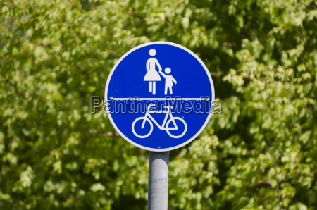 road sign cycle path and footpath