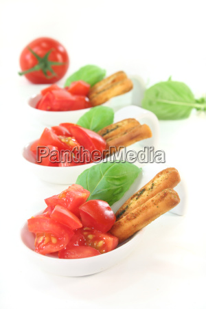 tomato with grissini and basil