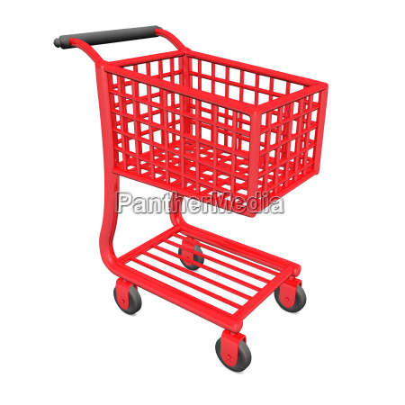 shopping cart red isolated