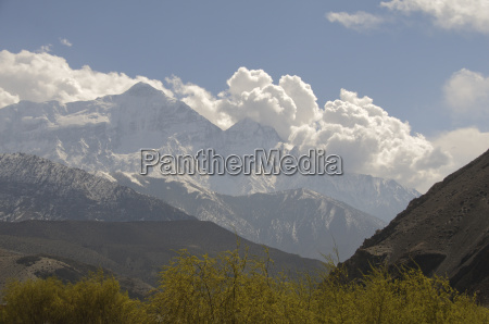 view of the annapurna massif in