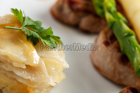close up of potato gratin and