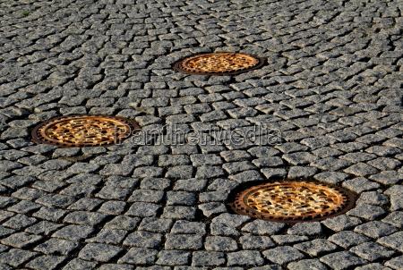 three manhole covers