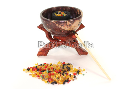 colorful incense with incense bowl