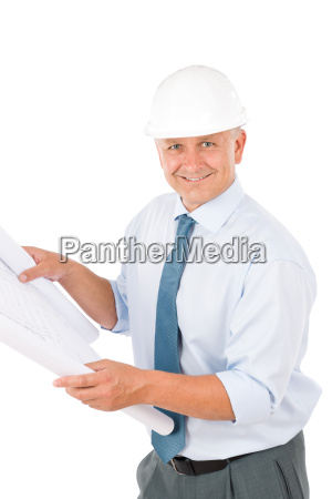 senior professional architect male with helmet