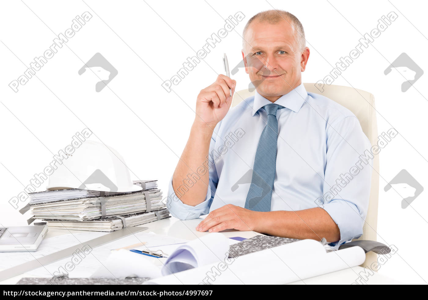 professional, architect, with, blueprint, behind, table - 4997697