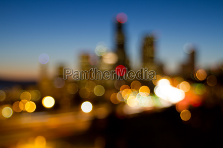 seattle downtown skyline out of focus