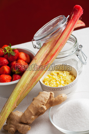 ingredients of rhubarb and strawberry jam