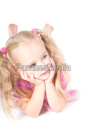 little cute girl in studio