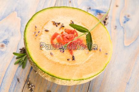 fresh melon soup with parma ham