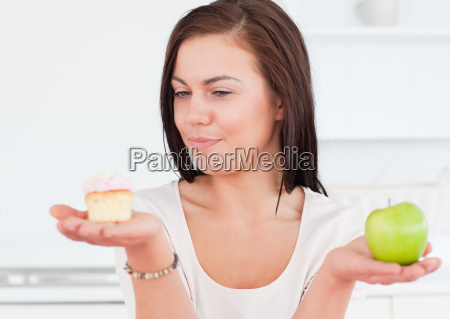 charming woman with an apple and
