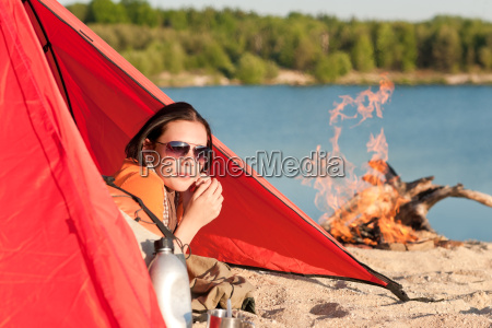 camping happy woman relax in tent