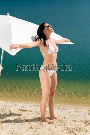 summer beach woman posing in white