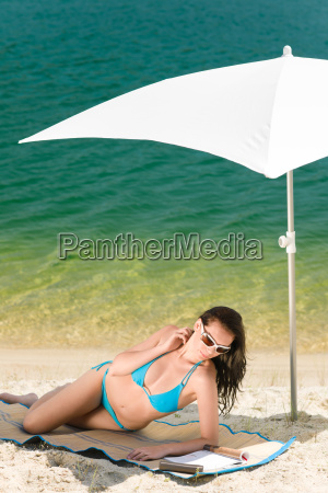 summer beach woman blue bikini under