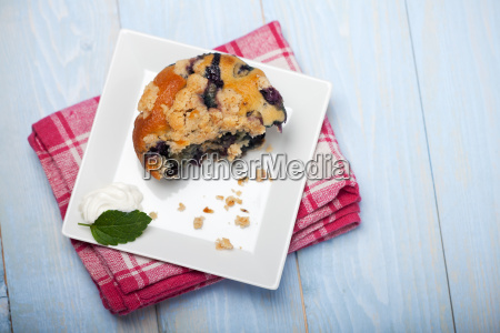 close up of a blueberry muffin