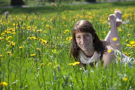 young woman enjoying barefoot in the