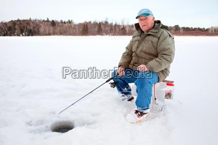 ice fishing on the lake