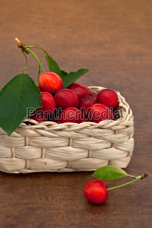 cherries in the basket
