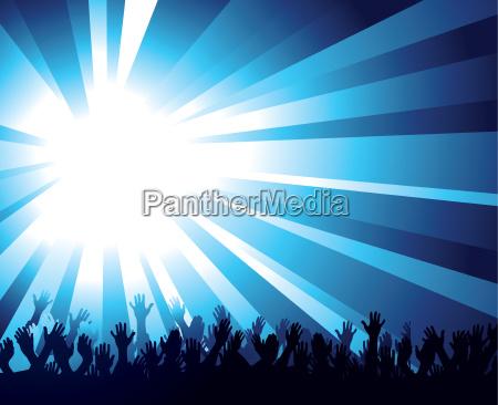 crowd and starburst