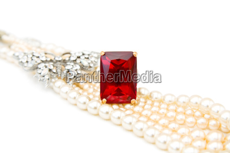 red ruby ring and pearls