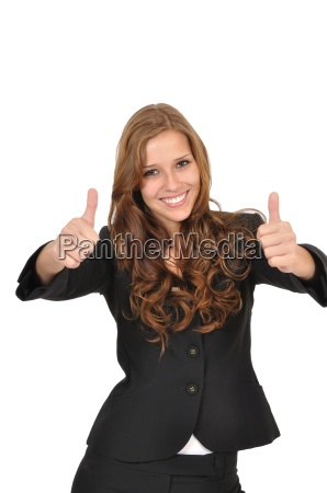 businesswoman in suit with two thumbs