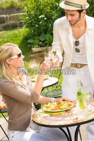 terrace sunny restaurant italian young people
