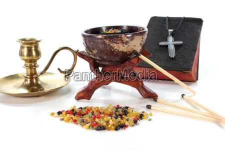colorful incense with incense burner