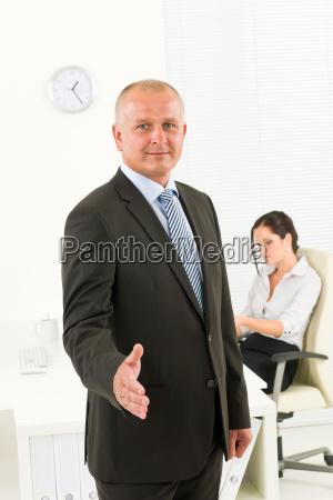 professional senior businessman handshake office